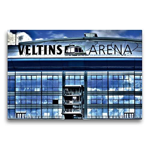 CALVENDO Premium Textil-Leinwand 75 x 50 cm Quer-Format Veltins Arena, Leinwanddruck von Anke Grau