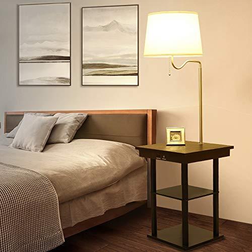 多機能 テーブル付き フロアライト 12W 木製 LED電球 E26 無段階調光 調色 リモコン操作 タイマー機能付き コンセント装備 USBポート搭載 引き線スイッチ 組立式 リビング 寝室適用