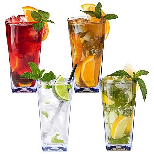 Bicchieri per acqua in plastica infrangibili, riutilizzabili, impilabili e infrangibili, lavabili in lavastoviglie e senza BPA, 340 ml (4)