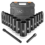 TACKLIFE 16pcs 3/8-Inch Drive Deep Impact Socket Set, Metric, 7-22mm, CR-V Steel, 6-Point with 3' and 6' Extension Bars -HIS4A