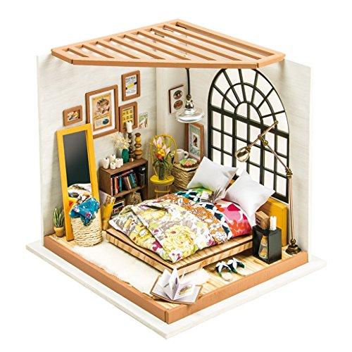 HWQ DIY Puppenhausset-Traumzimmer mit LED-Leuchten, Hausmontagemodell, Werkzeuge und Anleitung, kreative Spielzeugdekoration