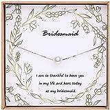 Bridesmaid Gifts, Sterling Silver Single Pearl Choker for Bridesmaid, Bridesmaid Proposal Gifts, with Gift Box and Bag