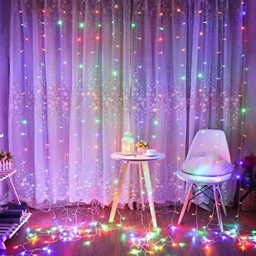 ZBM-ZBM Led-gordijn, verlicht fee raam-snoerlichten, 300 leds, 3 m x 3 m, 8 modi, met IR-afstandsbediening, draadlichten, waterdicht, voor binnen en buiten, kerstfeest, bruiloft, slaapkamer, decoratie, USB