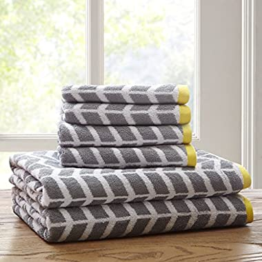 Intelligent Design Nadia Cotton Bathroom Towels, Jacquard Highly Absorbent Bath Towel Set, 6-Piece Include 2 Bath Towels & 4 Hand Towels, Dark Grey