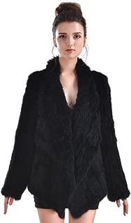 Rabbit Fur Coat - Women Winter Knit Real Fur Jacket Outwear with Pocket
