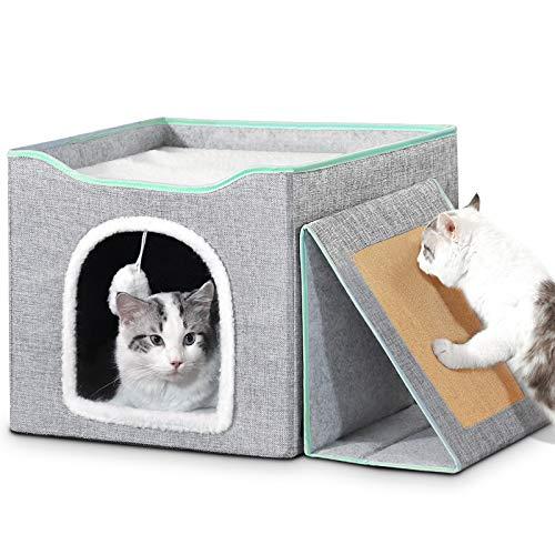 Bosixty Faltbare Kuschelhöhle für Katzen Haus, Würfelform Katzenhöhle Katzen Zum Schlafen für Katzen, Weiches Schlafbett Rutschfestes, katzenhöhle Zum Spielen für Katzen und Welpen (Grau)