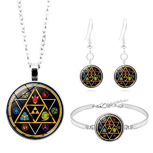 Legende Von Zelda Cabochon Glasschmuck Set Silber Halskette Armband Ohrring Schmuck Sets Für Frauen