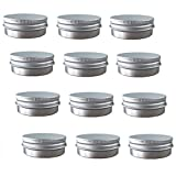 Aluminum Tin Jars, Cosmetic Sample Metal Tins Empty Container Bulk, Round Pot Screw Cap Lid, Small Ounce for Candle, Lip Balm, Salve, Make Up, Eye Shadow, Powder (12 Pack, 2 Oz/60ml)