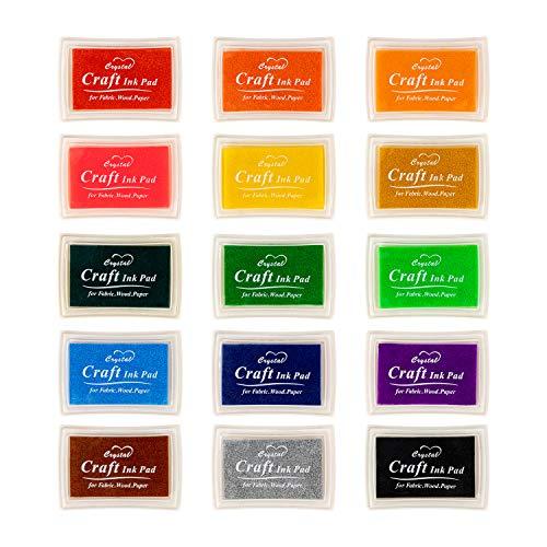 Ink Pad, 15 Colors Finger Washab...
