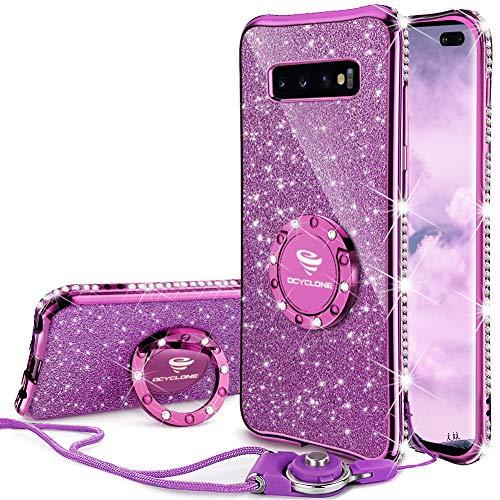 OCYCLONE Galaxy S10 Plus Hülle, Glitzer Diamant Handyhülle mit Trageband und Handy Ring Ständer Schutzhülle für Galaxy S10 Plus Handy Hülle für Mädchen Frauen, [6.4 Zoll] Lila