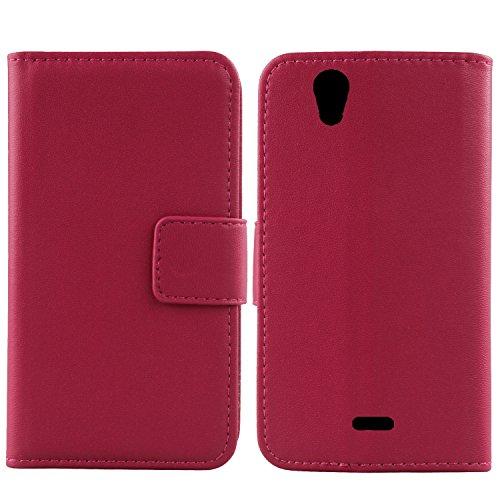 Gukas Design Echt Leder Tasche Für Wiko Birdy 4G Hülle Lederhülle Handyhülle Handy Flip Brieftasche mit Kartenfächer Schutz Protektiv Genuine Premium Hülle Cover Etui Skin (Rosa)