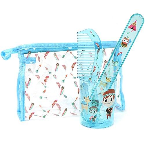 com-four® 4-teiliges Reiseset für Kinder mit Transporttasche, Zahnputzbecher, Zahnbürstenetui und Kamm mit Indianer-Motiv für Jungen (Indianer mit Tasche blau - 04-teilig)