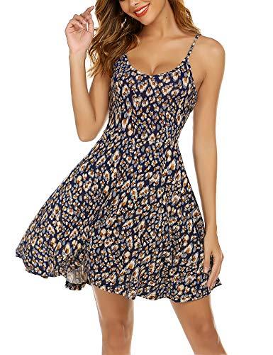 UNibelle Damen Nachthemd Nachtkleid Ärmellos Schwangerschaft Kleid Baumwolle Sexy Negligee Sleepwear V Ausschnitt Unterkleid PAT3 S