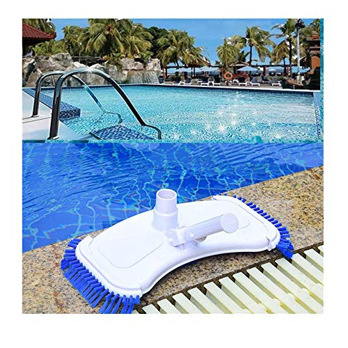 Poolreinigung Bodensauger mit seitlichen Bürsten,Pool Bodensaugbürste Poolreiniger Schwimmbad Bodenreiniger,Aufnahme für Teleskopstange (White)