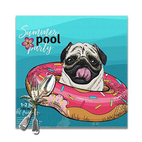 JOJOshop Summer Pool Paty Set von 6 Tischsets Isoliermatte hitzebeständig 30,5 x 30,5 cm für Esstisch