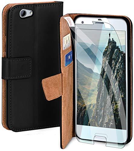 moex Handyhülle für HTC One A9s - Hülle mit Kartenfach, Geldfach & Ständer, Klapphülle, PU Leder Book Hülle & Schutzfolie - Schwarz