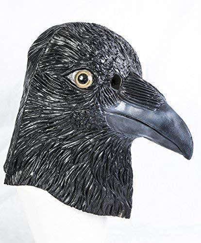 The Rubber Plantation TM 619219293662 Masque de corbeau en latex noir pour Halloween Tête complète Accessoire de déguisement Unisexe Adulte Taille unique