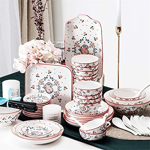 ZRB Juego de vajilla clásica, juegos de cena de cerámica, juego de vajilla de cerámica, tazón/plato/cuchara, juegos de cena, juego de combinación de porcelana de estilo japonés, 46 piezas