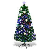Goplus 4ft Pre-Lit Fiber Optic Artificial Christmas Tree with Multicolor Led Lights and...