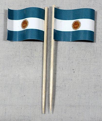 Buddel-Bini Party-Picker Flagge Argentinien Papierfähnchen in Profiqualität 50 Stück 8 cm Offsetdruck Riesenauswahl aus eigener Herstellung