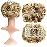 SWACC Short Messy Curly Dish Hair Bun Extension Easy Stretch hair Combs Clip in Ponytail Extension Scrunchie Chignon Tray Ponytail Hairpieces (Blonde Mixed-27T613#)