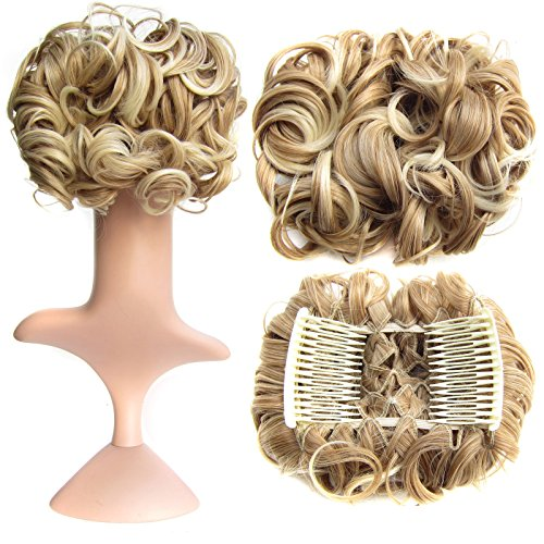 SWACC Short Messy Curly Dish Hair Bun Extension Easy Stretch hair Combs Clip in Ponytail Extension Scrunchie Chignon Tray Ponytail Hairpieces Blonde Mixed27T613#
