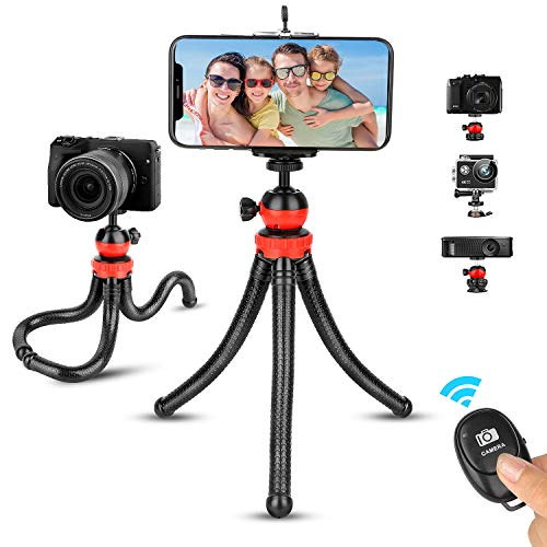 Phone Tripod, Portable and Flexible Phone Tripod Adjustable Camera Tripod Stand with Wireless Remote 360°Rotating, Compatible with iPhone Android Phone Camera Gopro for Tiktok YouTube Video Vlogging