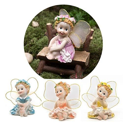 Gilroy 4Pcs/Set Flower Angels Figurine Fairy Garden Miniature Moss Landscape DIY Terrarium Crafts Ornament Accessories Bonsai Dollhouse Décor