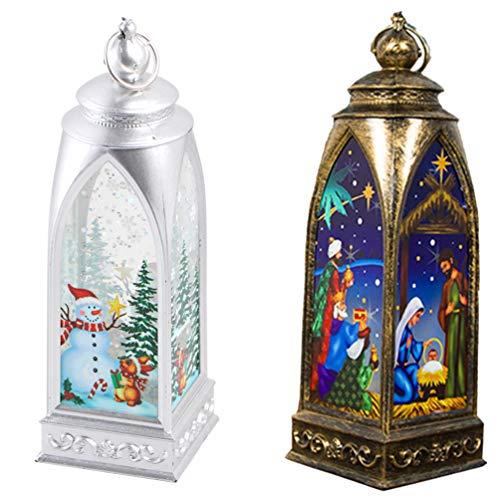 BESPORTBLE 2 Stücke Weihnachten Laterne Gartenlaterne Jesus Schneemann Lampe Weihnachtslaterne Teelichthalter Xmas Tischdeko Kerzenlaterne Garten Hängedeko Gartendeko für Außen Innen Deko
