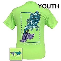 Girlie Girls Mermazing Neon Green Preppy Short Sleeve T-Shirt YOUTH