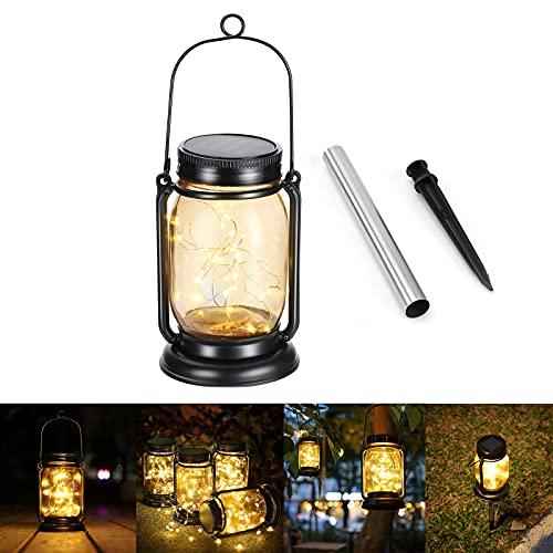 Vintage Farol Solar Exterior, Geemoo Farolillos Solares Exterior Jardin con Picos, 30 LED Luces de Cadena en Tarro de Vidrio, Lámpara de Decoración Solar para Jardín Exteriores de Patio