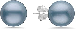أقراط من الفضة الاسترليني الصلبة عيار 925 مرصعة باللؤلؤ الصناعي - مجوهرات 7،8،10،12 مم كرة مستديرة غير مسببة للحساسية