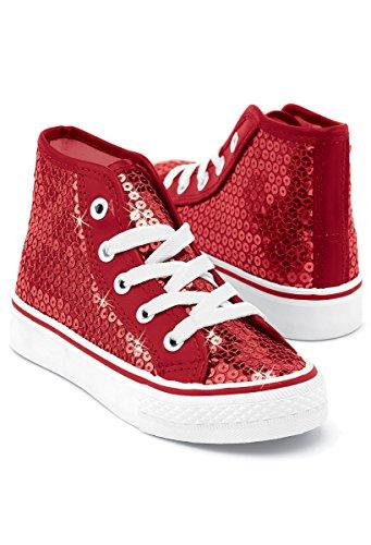 Balera Sequin High Top Dance Sneakers Red 13CM