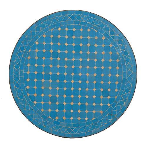 Casa Moro Mediterraner Mosaik Gartentisch M60-12 Himmel-Blau glasiert Ø 60 cm rund mit Gestell Höhe 73 cm Kunsthandwerk aus Marrakesch Handmade Bistrotisch Mosaik-Kunst Balkontisch | MT2150