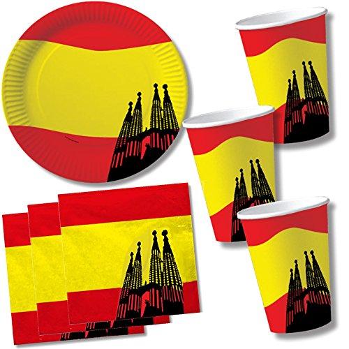40-delige SPANIEN-set kartonnen borden + servetten + kartonnen bekers voor feestjes en verjaardag // borden beker eten kartonnen servies decoratie wegwerp themafeest Spaanse nacht Espana