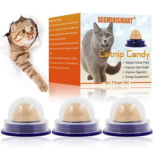 SEGMINISMART Bocadillo para Gatos,Dulces para Gatos,Bola de Hierba gatera para Gatos golosinas saludables Bolas de Caramelo de Hierba gatera – Gatito lamiendo Bolas Dulces