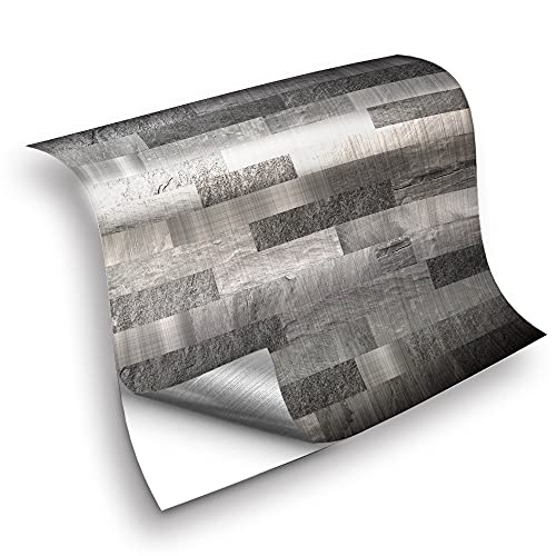 azulejos adhesivos cocina,25 piezas de pegatinas de azulejos de mosaico de metal gris, pegatinas de azulejos decorativos de renovación de baño -10cm