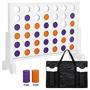 Smartxchoices Wooden 4 in a Row Game, 2ft Line Up 4 Connect Board Game Family Score Yard Game Set with Coins, Carrying Case and Rules