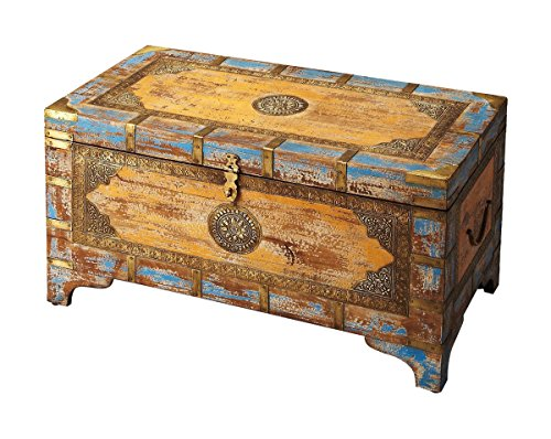 Offex Traditional Brass Inlay Rectangular Storage Trunk