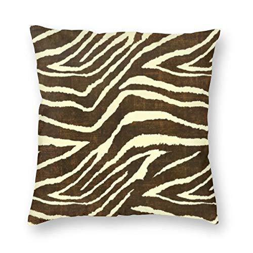 Funda de cojín con estampado de cebra en invierno, color marrón y beige con impresión de tela de terciopelo, suave, decorativa, cuadrada, funda de almohada para salón, sofá o dormitorio, con cremallera invisible de 20 x 20 pulgadas