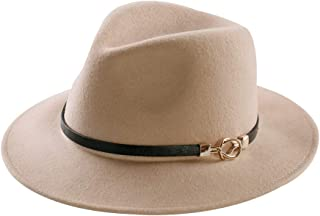 Daesan Womens Fedora Hat 100% Wool Wide Brim Panama Felt Hats Winter Trilby Cap Church Party