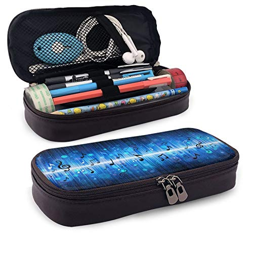 Leather Pencil Case,Music Note Zippered Pen Case Stationery Bag Pencil Holder