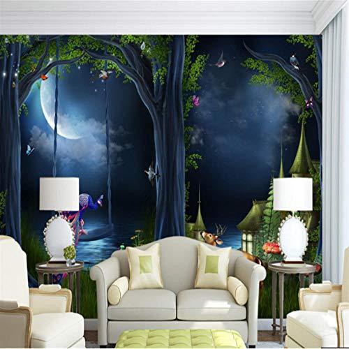Pbbzl Foto aangepaste 3D fotobehang fantasie sprookjesbos maanvergunning slaapkamer studie sofa achtergrond schilderij wooncultuur 280 x 200 cm.