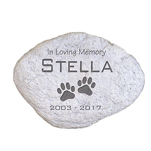 "GiftsForYouNow Engraved Pet Memorial Garden Stone, 11"" W, Durable, Waterproof, Indoor/Outdoor, Personalized Pet Garden Stone, in Loving Memory Garden Stone, Paw Print Garden Stone, Pet Death"