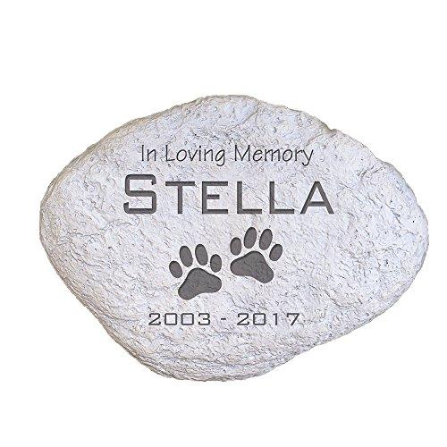 GiftsForYouNow Engraved Pet Memorial Garden Stone, 11' W, Durable, Waterproof, Indoor/Outdoor, Personalized Pet Garden Stone, in Loving Memory Garden Stone, Paw Print Garden Stone, Pet Death