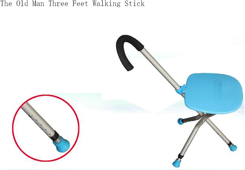 Adjustable Height Three Feet Walking Stick Stools, Aluminum Alloy Lightweight Anti-Slip Rubber Tips Tripod bluee Stools For Elderly