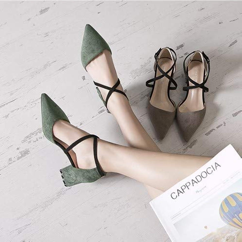 HRCxue Pumps Schuhe Damenmode Damenmode Damenmode wies High Heels Damenwort Schnalle mit dicken Einzelschuhen Baotou Damenschuhe, 36, schwarz  44fc69