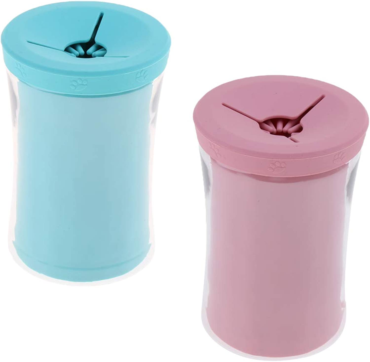 Baoblaze 2pcs Pet Foot Washer Cup Dog Cleaning Cup Foot Cup Soft and Gentle Dog Cat Grooming