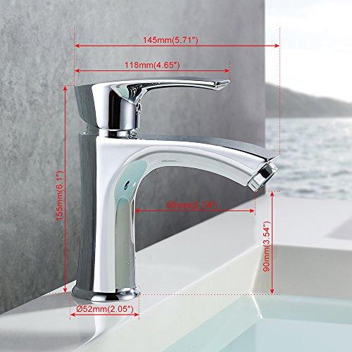Homelody Waschtischarmatur Badarmatur Bad Mischbatterie Waschbecken Armatur Chrom Wasserhahn Waschbeckenarmatur f. Badezimmer - 6