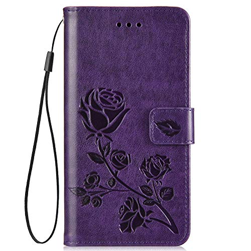 IKASEFU Compatible with Xiaomi Redmi 5 Plus Case Emboss Rose Floral Slim Pu Leather Wallet Strap Card Slots Card Holder Shockproof Magnetic Stand Feature Folio Flip Book Cover Protective Case,purple